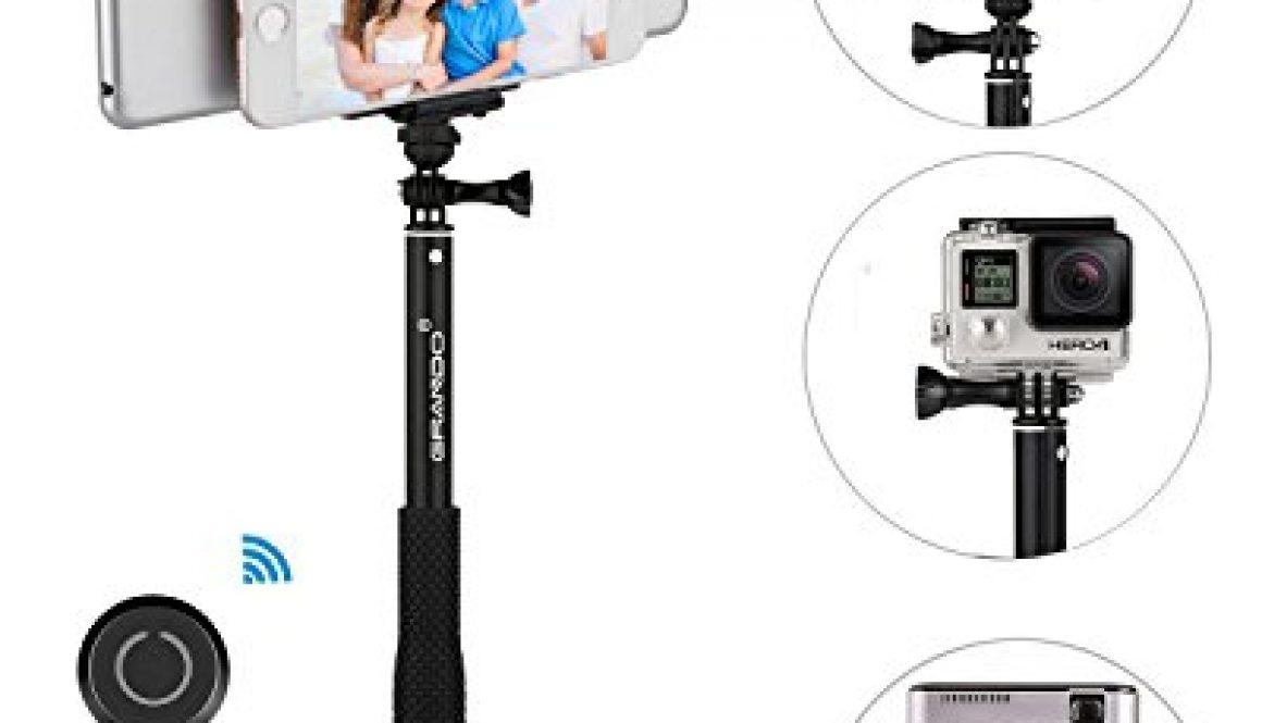 Selfie Stick, GRANDO Clip 2 en 1 Monopod Extendible con mando a distancia y trípode para Tablet, Apple, Android y Cámaras Negro